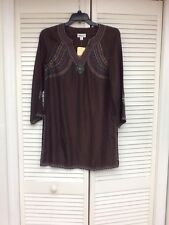 Coldwater Creek Gorgeous LS 100% Silk Beaded Tunic, Brown, Sz. S, NWT