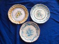 🔴 3 piatti da muro ceramica maiolica di GROTTAGLIE Puglia anni 70 dipinti mano