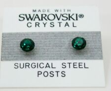 5mm Small Green Crystal CIRCLE Stud Earrings Made with SWAROVSKI ELEMENTS Gift
