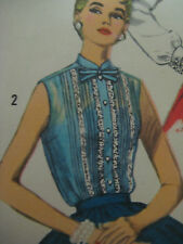 Vintage 1950's Simplicity MANDARIN COLLAR SLEEVELESS BLOUSE Sewing Pattern Women