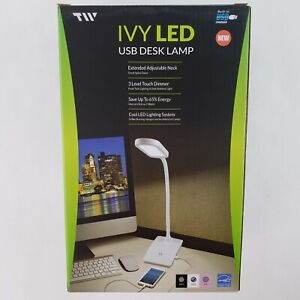 TW Lighting The IVY LED Desk Lamp with USB Port, 3-Way Touch Switch IVY-40WT NEW