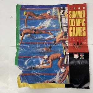 Budweiser Bud Beer Poster ~ 1988 Summer Olympic Games Seoul Korea SWIMMING