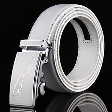 Mens White Leather Golf Belt Waist Strap Jaguar Leopard Automatic Buckle Wedding
