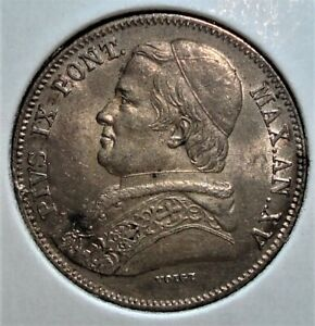 1861 XVR Italian States - - Papal States - - Silver 20 Baiocchi Coin, Nicer