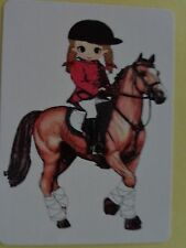 CUTE LITTLE GIRL ON  A HORSE  SWAP PLAYING CARD.