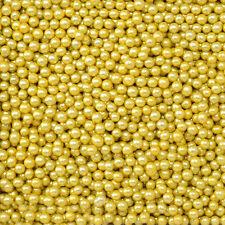 Gold 4mm Edible Sugar Pearl Balls/Dragees - 50g