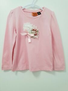 Girls Hand Embellished long sleeved pink T Shirt Sz 3 BN