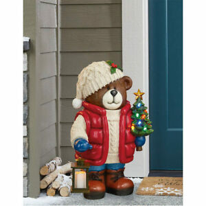 26 Inch Christmas Bear Statue with 10 LED Lights with Christmas Tree and Lantern