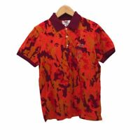 Retro Fox Mens size Medium Orange Burgundy Camo Short Sleeve Polo Shirt NEW
