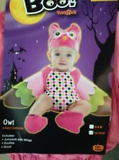 Owl Costume Infant 12-18 Months NWT Pink Green Plush Jumpsuit **No Hood Booties