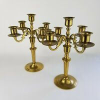 """Vintage Pair of Brass Candelabras 4-arm 5-Candle Taper Candle Stick Holders 10""""T"""