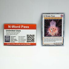 N-Word Pass PACK OF 2 !! No1 CUSTOMIZED No2 YU-GI-OH CARD WATERPROOF & LAMINATED