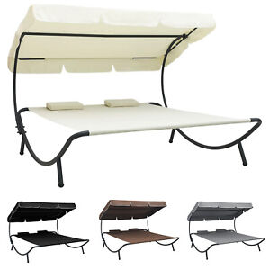 Outdoor Lounge Bed with Canopy and 2 Pillows Garden Patio Sun Day Bed Furniture