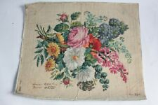 Carton tapisserie de Berlin Fleurs XIXe siècle broderie couture (56305)