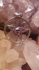 Sterling Pentacle Pentagram Pendant Wiccan Pagan Amethyst triple moon goddess