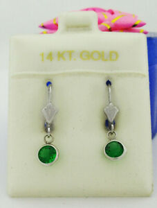 EMERALDS 1.12 Cts DANGLING EARRINGS 14K WHITE GOLD * New With Tag *