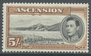 Ascension 1938 5sh Long Beach King George VI Perf 13 1/2 (SG#46) Mint £95