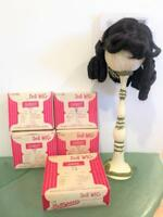 Doll Wig Lot 6 Pc Synthetic Dynel Dollspari New Old Stock Asst Sz 8,9,14 Boxed