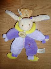 Doudou Peluche Baby'nat lapin rabbit bunny lièvre col violet parme pantin noeuds