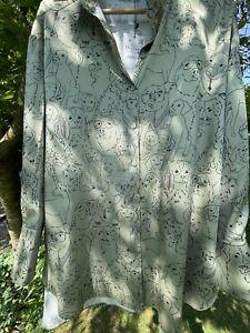 Zara Dog Print Green Satin Shirt XXL Bnwt