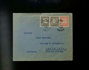 BOLIVIA POSTAL HISTORY SUCRE TO NEW HEBRIDES FRENCH  MILITARY CENSORSHIP MAPS