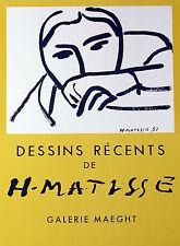 "Henri Matisse ""Dessins Recents,"" Lithograph Poster"
