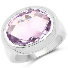 925 Sterling Silver 8 Ct Genuine Solid Pink Amethyst Gemstone Solitaire Ring