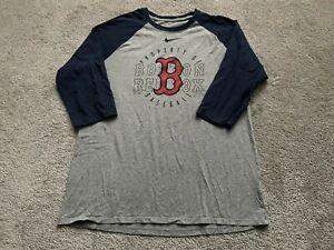 Nike Boston Red Sox Mens Large T Shirt Raglan 3/4 Sleeve MLB Baseball Logo Sport