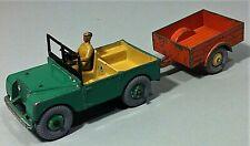 Vintage green Dinky toys meccano England Green Land Rover & orange trailer