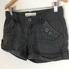Aeropostale Womens Junior Short Shorts 0 Gray Striped Mini Casual Cuffed D71