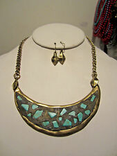 Brass With Turquoise Half Moon Shape Pendant Necklace Earring Set
