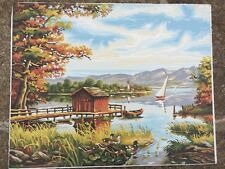 Completed paint by number pbn sailboat lake ducks cabin