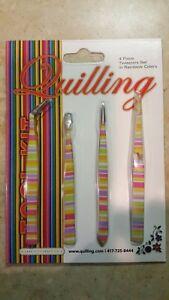 Lake City Craft 4-Piece Tweezer Set, Quilling or Jewelry