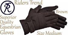 Equestrian Gloves Riders Trend Nubuck Luxury Suede Leather Size Medium Brown New