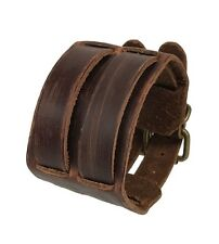 Vintage Punk Brown Leather Bracelet Cuff Wristband Men Women Unisex Bangle