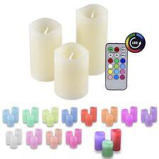 3er Set Echtwachs Kerzen mit Farbwechsel mit Fernbedienung IOIO LED 48
