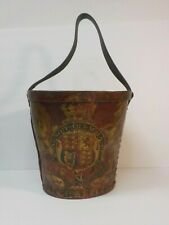 Rare English Georgian Period Leather Fire Bucket, Royal Coat of Arms, c. 1810