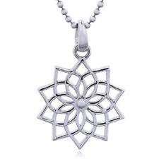 Symbol Mystic Spiritual 20mm x 30mm Sterling Silver pendant Open Lotus Mandala