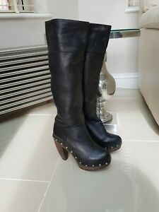 Stunning Knee High Black Leather  Studded Boots