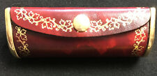 New Gorgeous Genuine Leather & Brass Lipstick Holder Rose Design Florence Italy