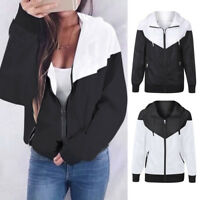 Ladies Women Long Sleeve Thin Skinsuits Hooded Zipper Pockets Sport Coat Jacket