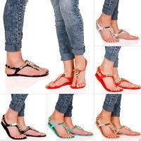 Womens Diamante Jelly Sandals Buckle Toe Post Metallic Ladies FLIP FLOPS PUMPS