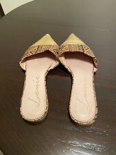 Very Well-Worn LONIA Gold/Multicolored Modified Flat Mules Sz 12 (May Fit 13M)