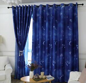 Night Sky Zodiac Star Blockout Eyelet Curtains Set Girls & Boys Childrens Kids