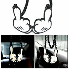 Micky Two Middle Finger Rearview Mirror Hanging Charm Dangling Pendant Ornament