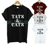 TATS AND CATS T SHIRT CAT KITTY ANIMAL LOVER TATTOO FASHION TUMBLR LOVE UNISEX