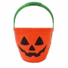 Halloween Light Up Handle Trick or Treat Candy Bucket Pail Bag - Pumpkin Orange