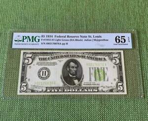 ⭐️LGS⭐️ 1934 $5 St. Louis Light Green Seal Lime - PMG Gem Uncirculated 65EPQ C2C