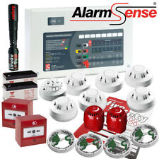 Alarmsense bi-fil et filaire alarme incendie Kit Avec Fumée & Chaleur détecteurs 2 Zone Panel
