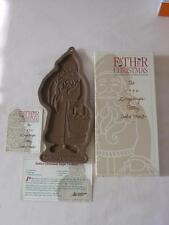 1990 LONGABERGER POTTERY FATHER CHRISTMAS UNUSED COOKIE MOLD, RECIPE CARD IN BOX